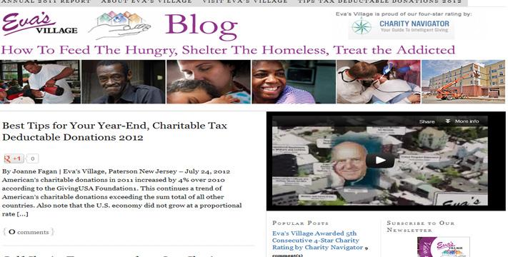 A screenshot of Eva's Village's website.
