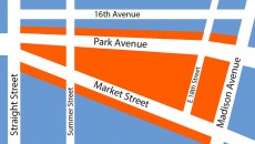 Map showing the section of town that will be included inside the Sandy Hill Special Improvement District.