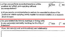 Employment form with unchecked nepotism box.