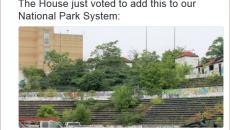 "Hinchliffe Stadium inclusion criticized in a tweet by Oklahoma Senator Thomas ""Tom"" Coburn."