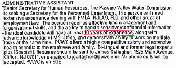 Advertisement for the assistant personnel technician position that appeared in the Star-Ledger in November 2014.