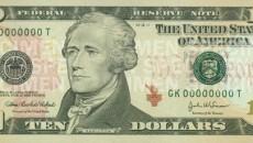 $10 bill featuring Alexander Hamilton.