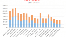 Fiscal year 2015's top public workers overtime earners. Where the length of the blue is same as the length of the orange bar the employee listed underneath has doubled his or her salary through overtime.