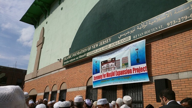 Hundreds gather at groundbreaking ceremony for Van Houten Street mosque on Friday afternoon.
