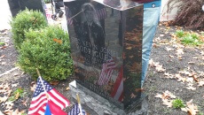 The monument unveiled to honor slain soldier Kevin Rodriguez.