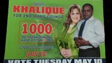 Khalique's flyer touting 1,000 mail-in votes.