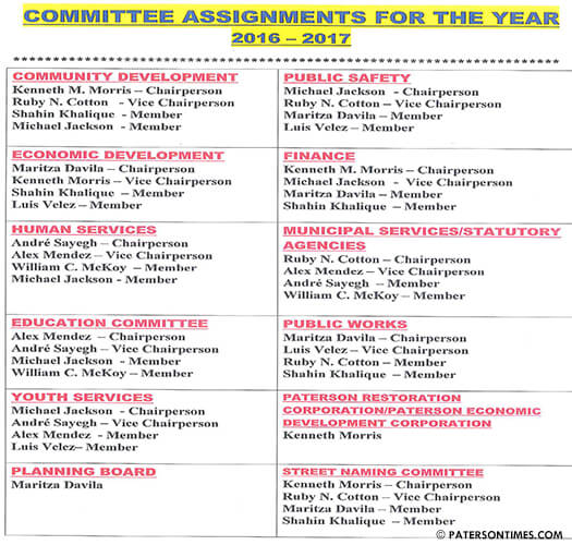 City council committees for 2016-17.
