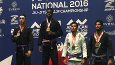 "Devhonte ""Bones"" Johnson, second from left, at the American National Jiu-Jitsu International Brazilian Jiu-Jitsu Federation Championship."