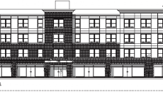 Architect's drawing of the building as viewed from Crooks Avenue.
