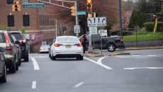 Picture shows right turn lane at the intersection of Memorial Drive and Broadway.
