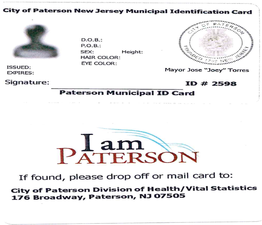 "Sample ""I am Paterson"" municipal identification card."