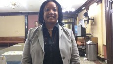 Dawn Blakely-Harper outside the City Council chambers on Tuesday night following the brief hearing on her confirmation.