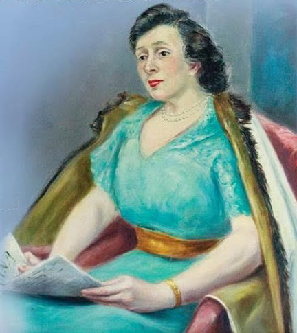 A painted portrait of Mary Augusto.