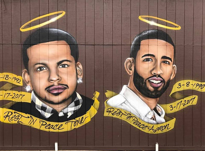 The mural which was on the side of Westside Grill in the corner of Preakness and Union Avenues.