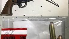 44 Magnum Ruger Super Blackhawk revolver and ammo seized.