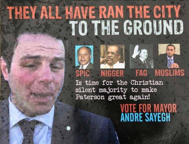 Racist mailer received by Paterson voters (front).