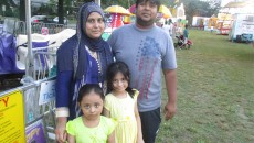 Mukhlis Miah and his wife, Bable Begum, with their daughters, Tasmeem and Sharmila Begum, at the annual carnival.