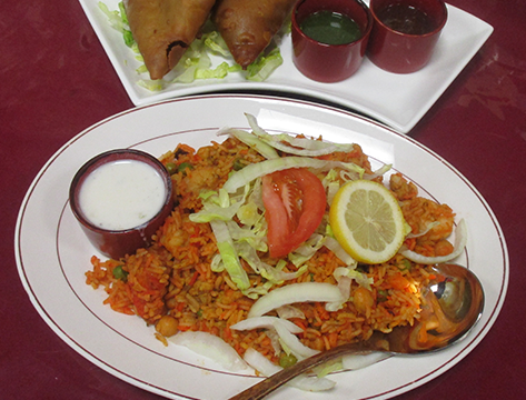 Chicken and shrimp biryani, a popular dish at the Indian Gate Restaurant.