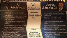 Abreu's campaign flier comparing himself and his opponent on religion.