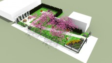 Bird's eye view rendering of the MLK Park with trees | Courtesy of Habitat for Humanity