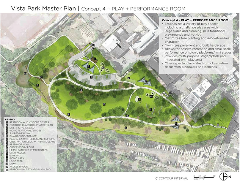 Vista Park Concept 4 - PLAY + PERFORMANCE ROOM from the master plan.