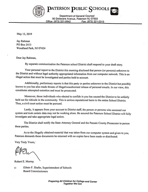 Shafer's letter threatening to sue the Paterson Times.
