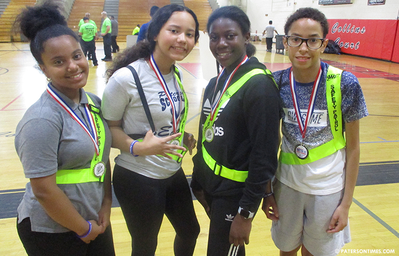 School 21 safety patrol members. Second-place winners.