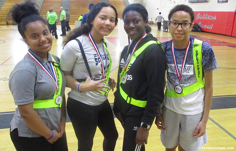School 21 safety patrol members. Second-place winners.