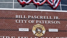 New sign affixed to the Paterson fire headquarters bearing Pascrell's name.