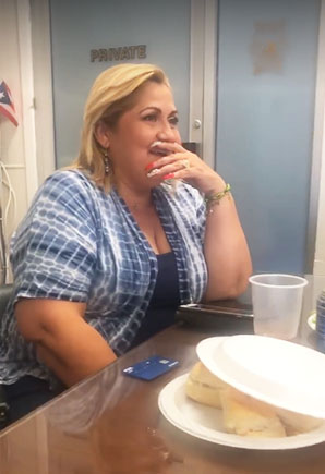 Davila reaction when Sayegh tells her the annual Great Falls Festival will be named in her honor.