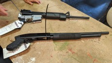 AR-15 assault rifle and 12-gauge shotgun